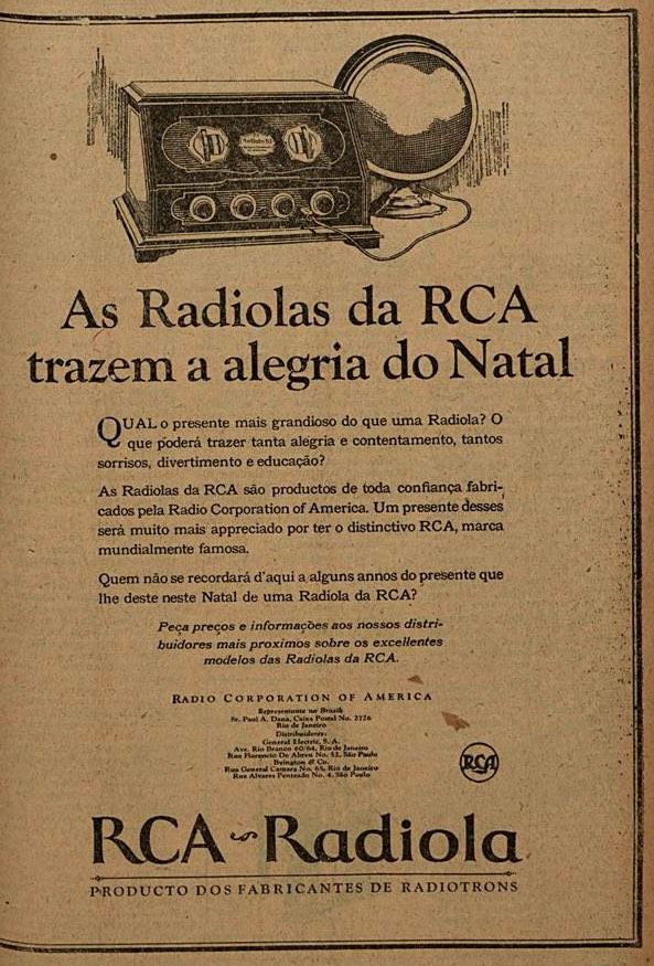 Propaganda antiga da Rua promovendo sua radiola em 1926