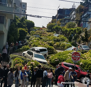 The crooked block of Lombard Street, looking upwards