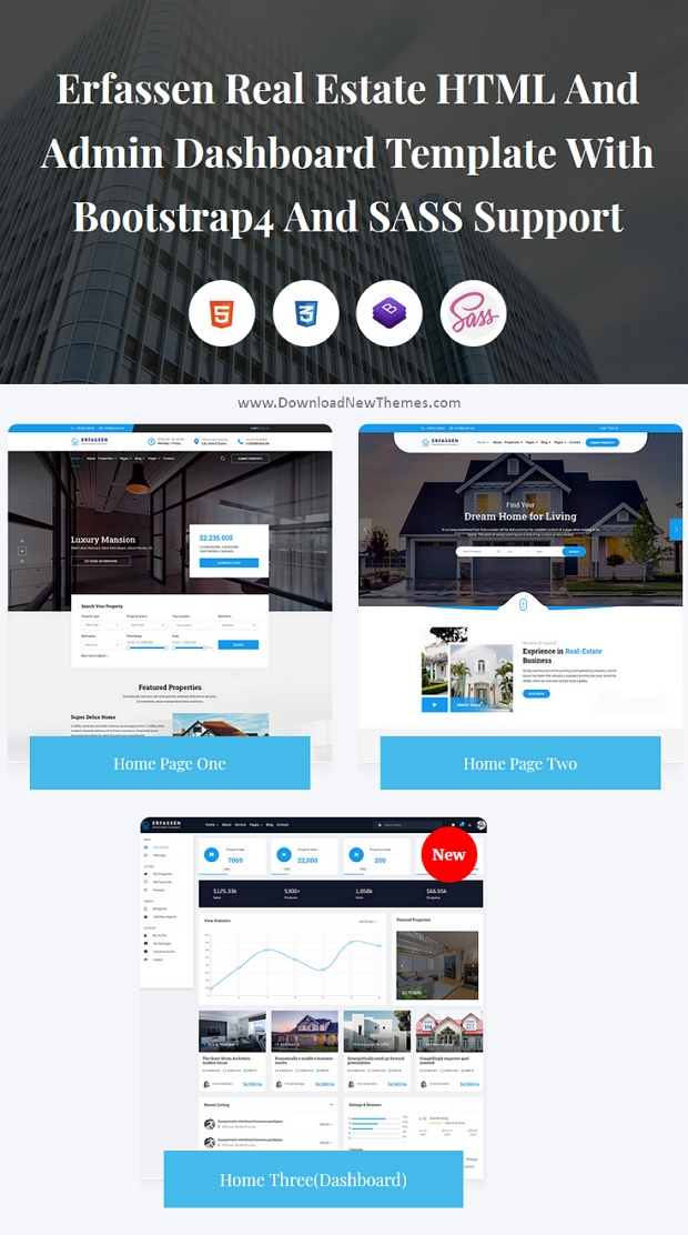 Real Estate And Admin Dashboard Template