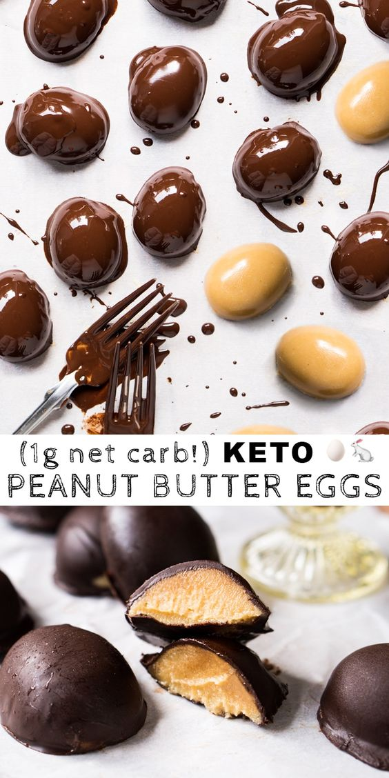 Chocolate Peanut Butter Easter Eggs 🥚🐇 gluten free, dairy free & keto