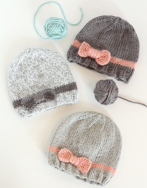Knit Bow Baby Hats - Free Pattern