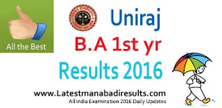 Rajasthan University B.A (Part-I) Result 2016, Rajasthan University B.A First Year Result 2016