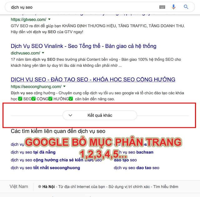Google bỏ phân trang cho các kết quả tìm kiếm
