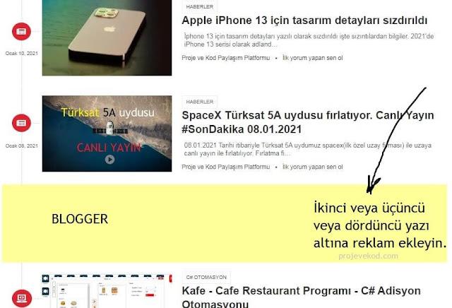 Blogger anasayfa'da istediğiniz yazının altına reklam yerleşimi yapmak