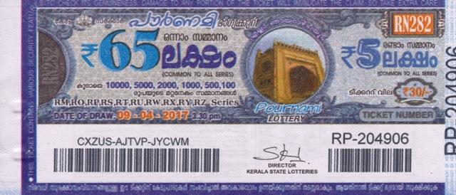 Full Result of Kerala lottery Pournami_RN-180