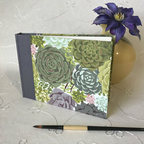 handmade sketchbook with succulent patterned cover