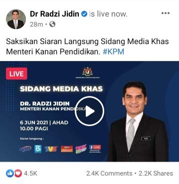 Intipati Siaran Langsung Sidang Media Khas Menteri Kanan Pendidikan 6 Jun 2021