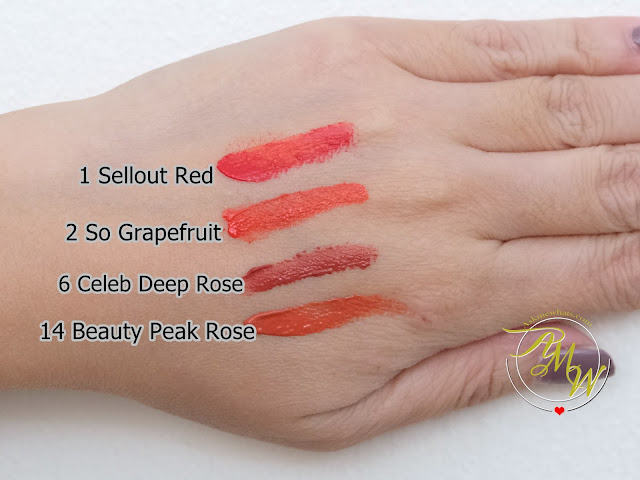 a swatch photo of PeriPera's Ink Velvet Lip Tints Holiday 2017 Collection in shades Sellout Red, So Grapefruit, Celeb Deep Rose and Beauty Peak Rose by Askmewhats Nikki Tiu