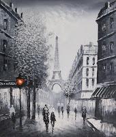 Parigi dipinto a olio su tela dim.50x60 di dipintinmovimento