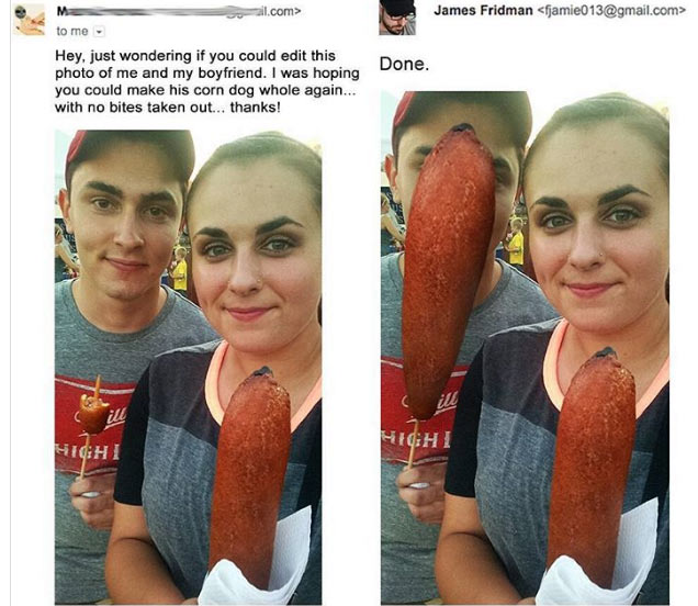 Woman gets her photoshop request hilariously done