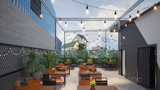 Sử dụng gạch Terrazzo cho khu vực ăn uống ngoài trời