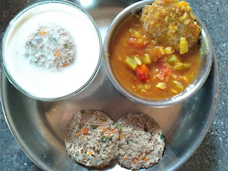 Satvik steamed Veg Vada with  Black eyed pea sprouts and Carrot,  Vada in Bottle gourd Sambar,  Vada in Coconut curd