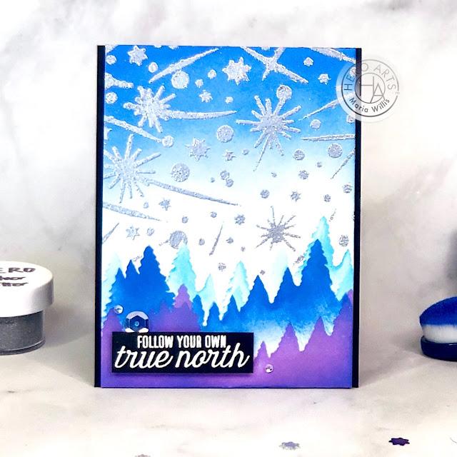 #cardbomb, Maria Willis, #heroarts, #mymonthyhero, #mymonthyherojune2020, #stamp, #cards, #ink, #paper, #papercraft, #craft, #video, #videotutorial, #art, #color, #tonicstudios, #tonicstudiosusa, #nuvo, whale, northern lights, aurora borealis, background techniques,