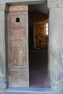 Oratory in Pescia Italy Open Door leads to fresco and sculpture