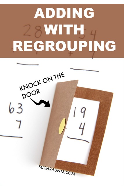 Make a paper door to introduce concepts in first grade math like regrouping in addition.
