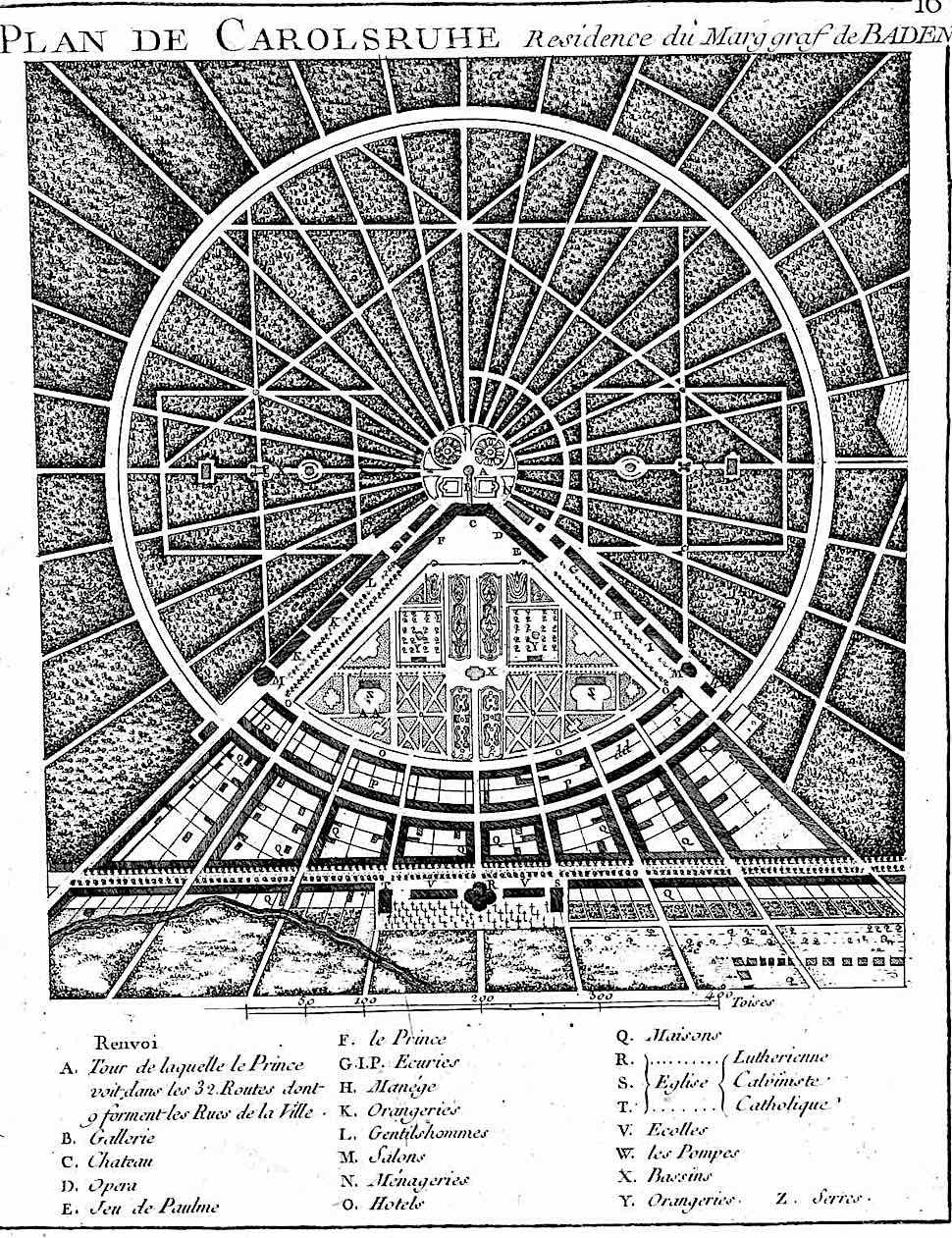 a 1776 garden layout illustration, Plan de Carolsruhe, residence du Marggraf de Baden