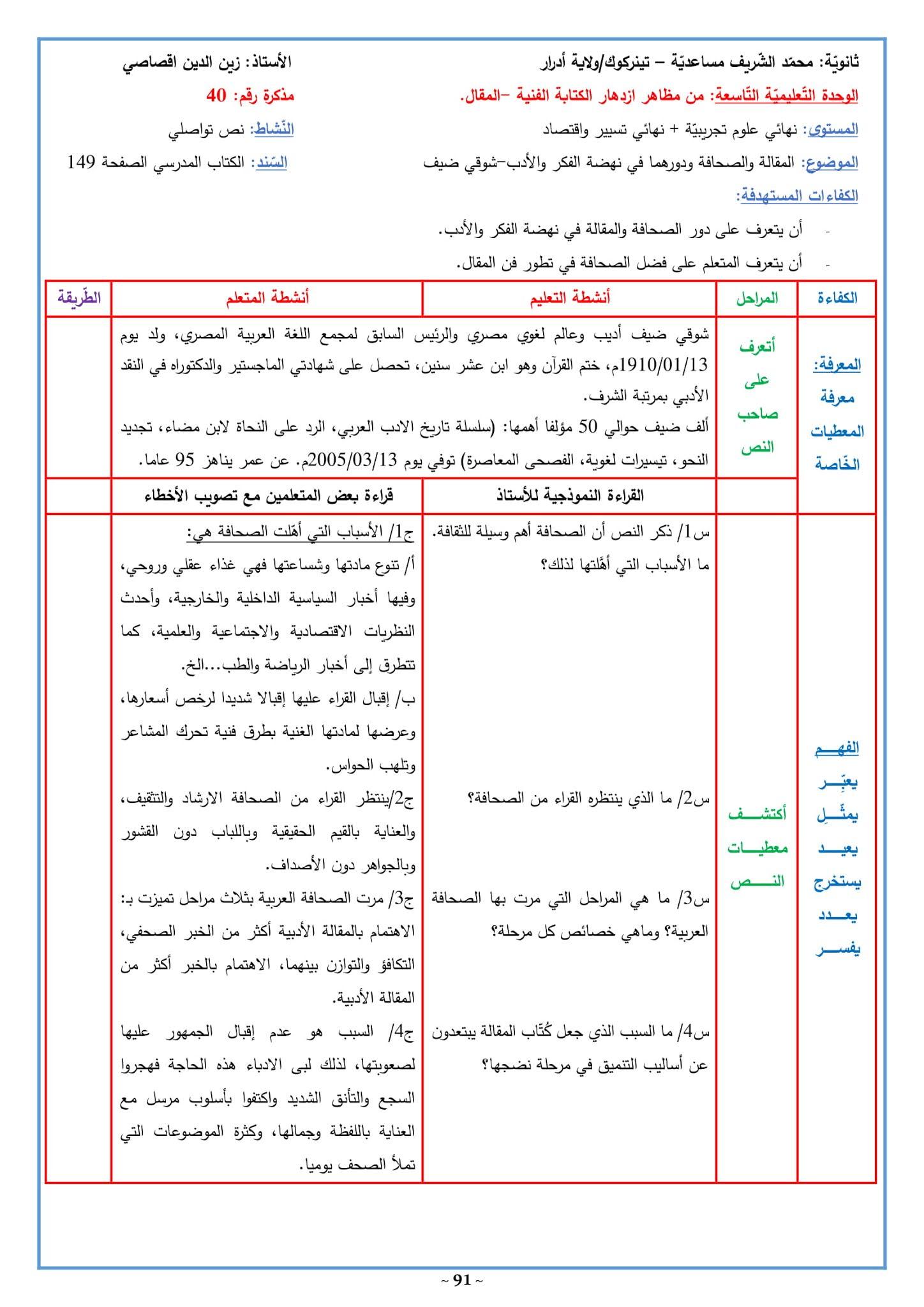 تحضير نص المقالة والصحافة ودورهما في نهضة الفكر والأدب 3 ثانوي