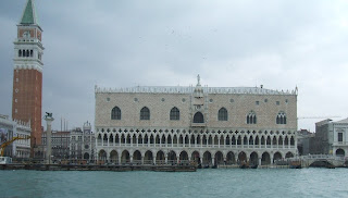 The Doge's Palace occupies a position next to St Mark's Basilica overlooking the lagoon