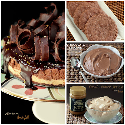Chocolate Mousse and Cookie Butter Mousse Cake with Shortbread crust and giant chocolate curls on top. from #dietersdownfall.com