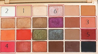 Makeup revolution soph palette. Shades used are numbered