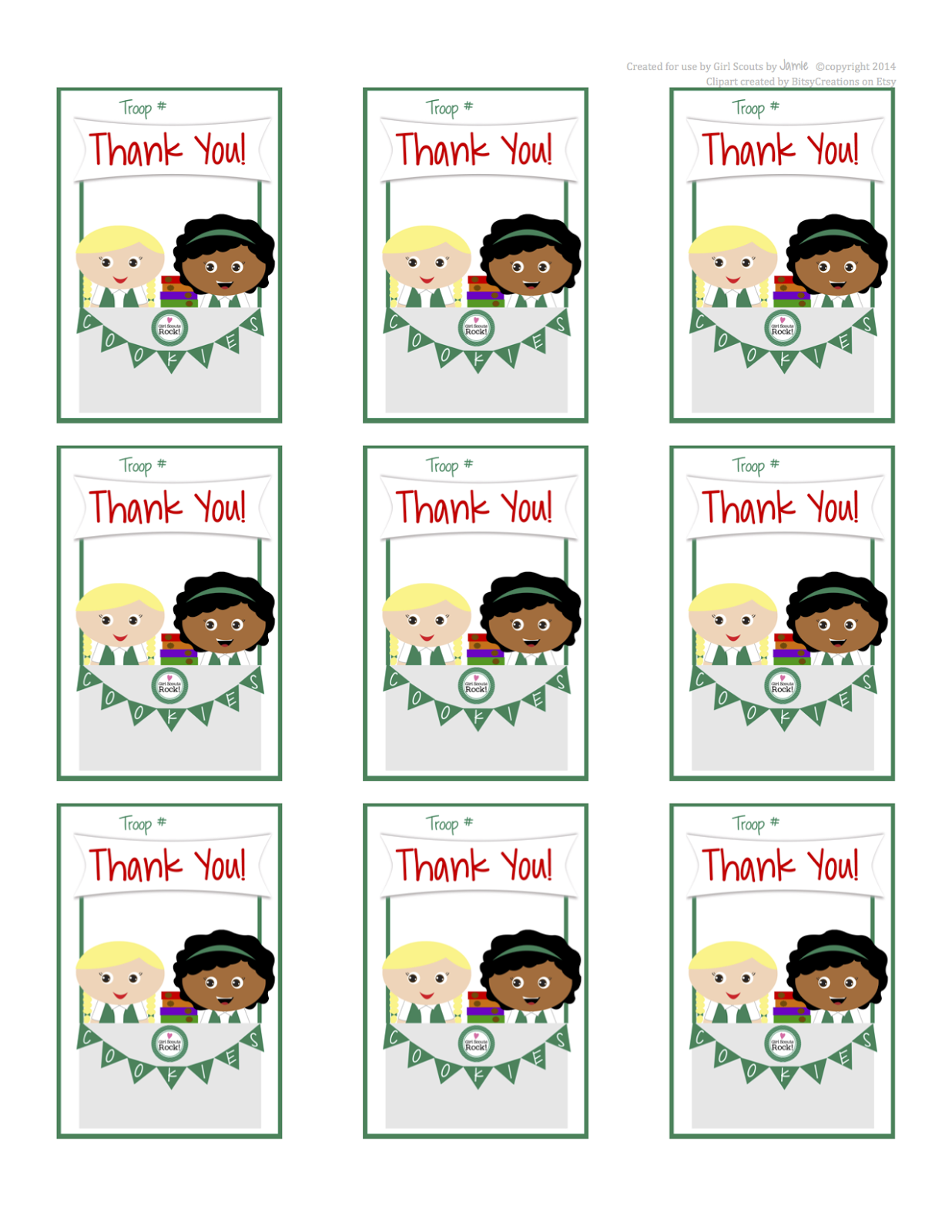 photo about Girl Scout Cookie Thank You Note Printable identify My Modern Strategies: January 2014