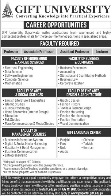 hr@gift.edu.pk - GIFT University Jobs 2021 in Pakistan