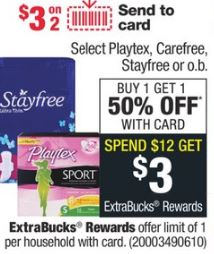 Select Stayfree, Playtex,Carefree Liners.