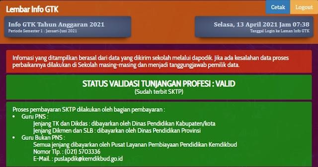 Cek Info GTK Realisasi Pembayaran Tunjangan Profesi Guru (TPG) Triwulan 1 2021