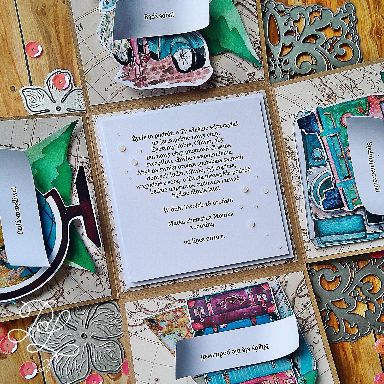 Exploding box dla zakochanej podróżach osiemnastolatki - Katarzyna Rajczakowska Papierowe Love Siechnice.