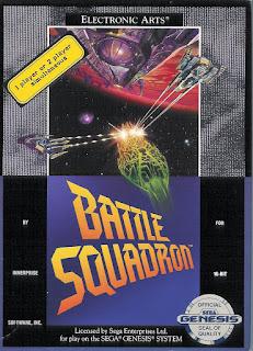Portada del cartucho de Megadrive (16 bits) para el videojuego Battle Squadron