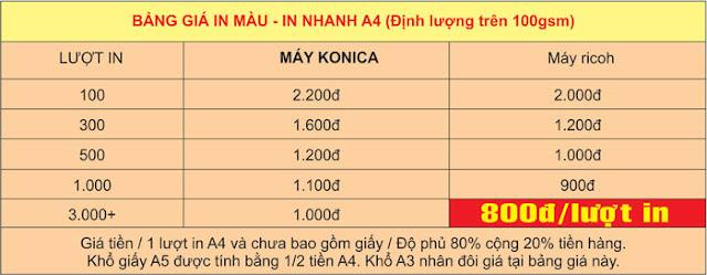 Bảng giá in màu A4 ở Hà Nội in nhanh định lượng trên 100gsm