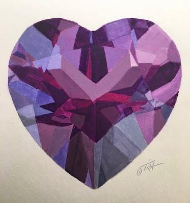 Amethyst Heart acrylic painting, first layer of paint.