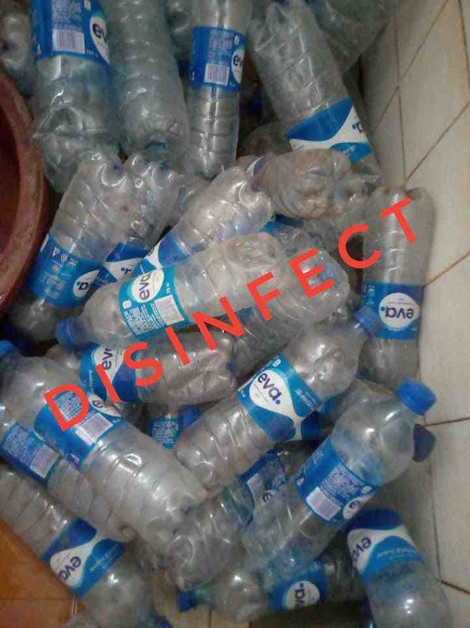 Ebuka Ian: Nigerian man makes Shirt,Trouser and Shoe with Eva bottle can water (Photos)