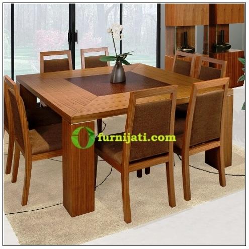 Meja makan kayu jati 8 kursi