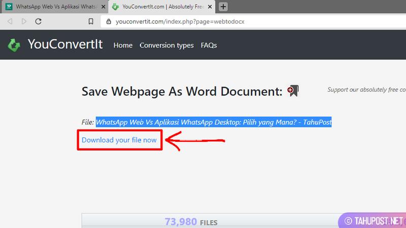 Simpan File - Konversi Halaman Web ke Dokumen Word