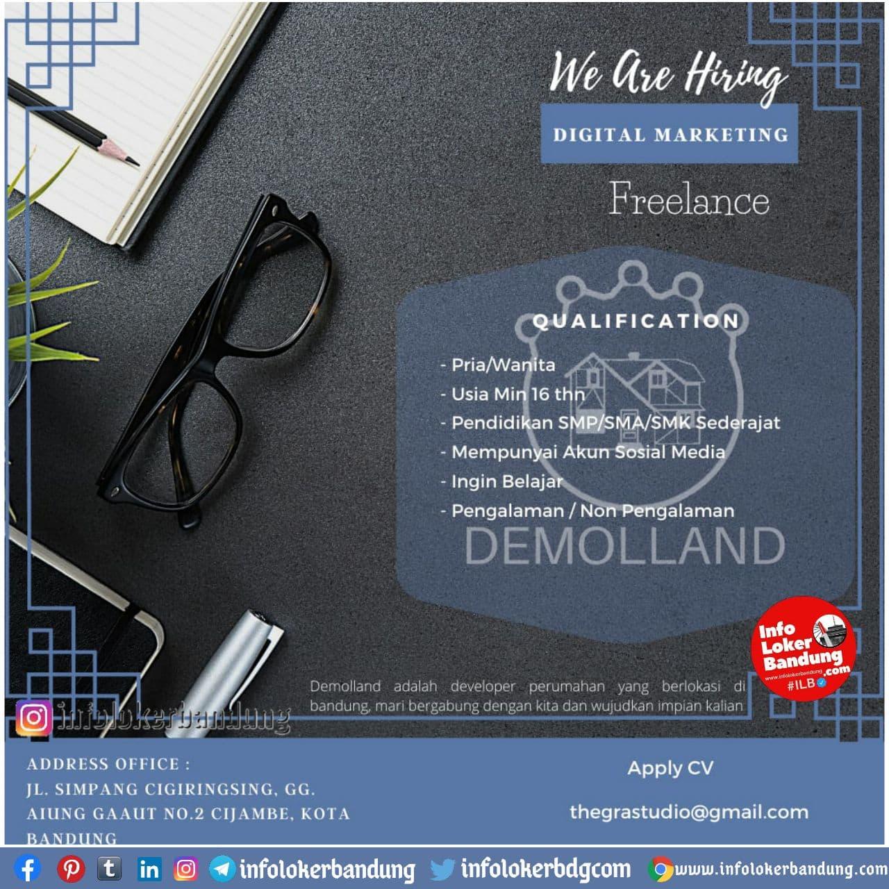 Lowongan Kerja Digital Marketing ( Freelance ) Demolland Bandung Desember 2020