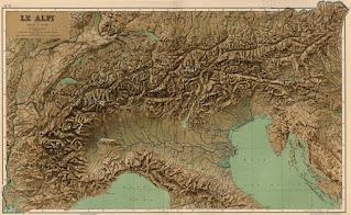 cartina delle Alpi, la corona d'Italia