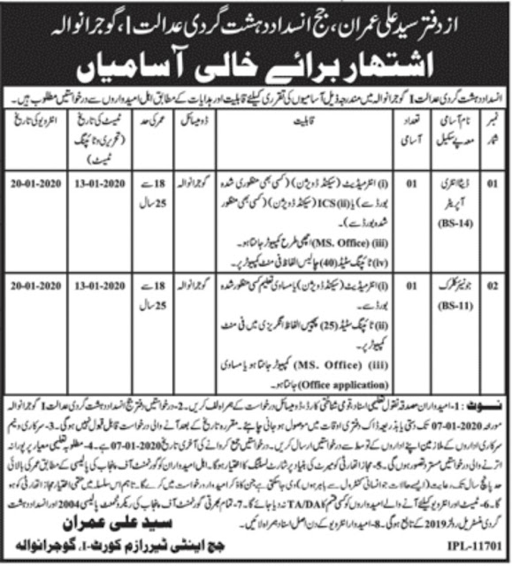 Anti Terrorism Court jobs Data entry operator, Junior Clerk and other 2020