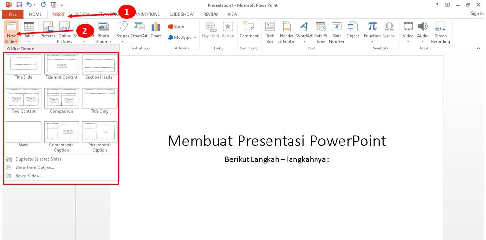 Membuat halaman presentasi power point