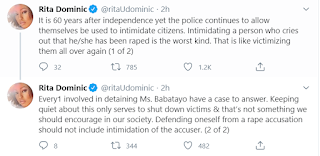 Rita Dominic's tweet about Dbanj's Rape Allegation