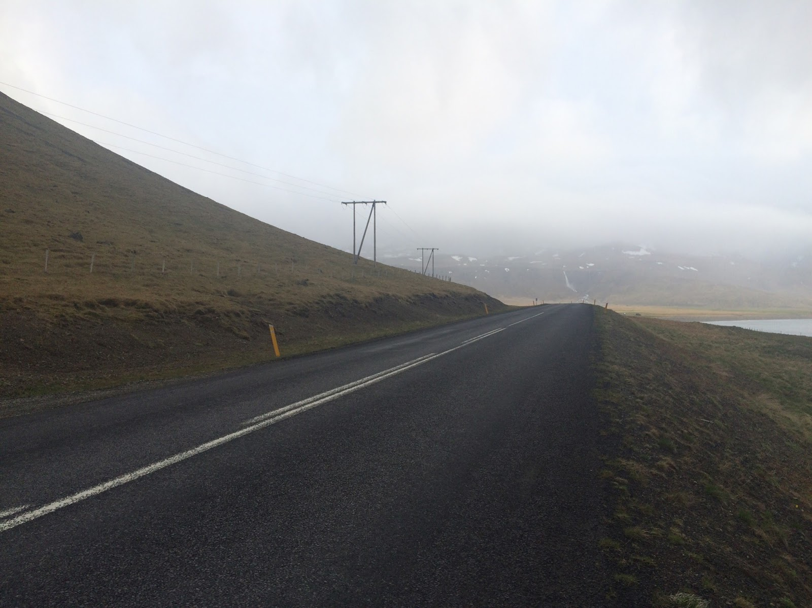 On the road on a cloudy day in Iceland