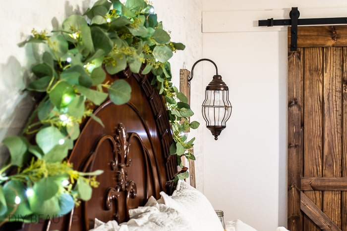 headboard with lighted garland