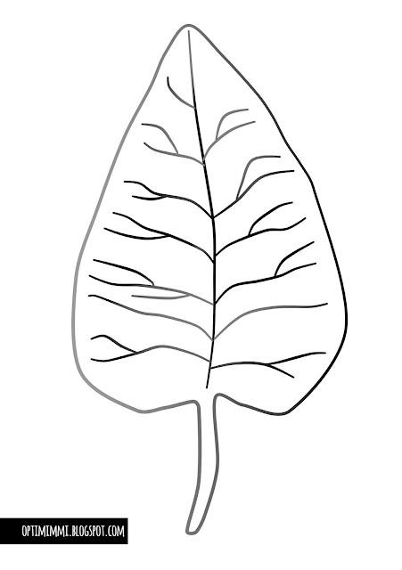 A coloring page of an autumn leaf / Värityskuva syksyisestä lehdestä