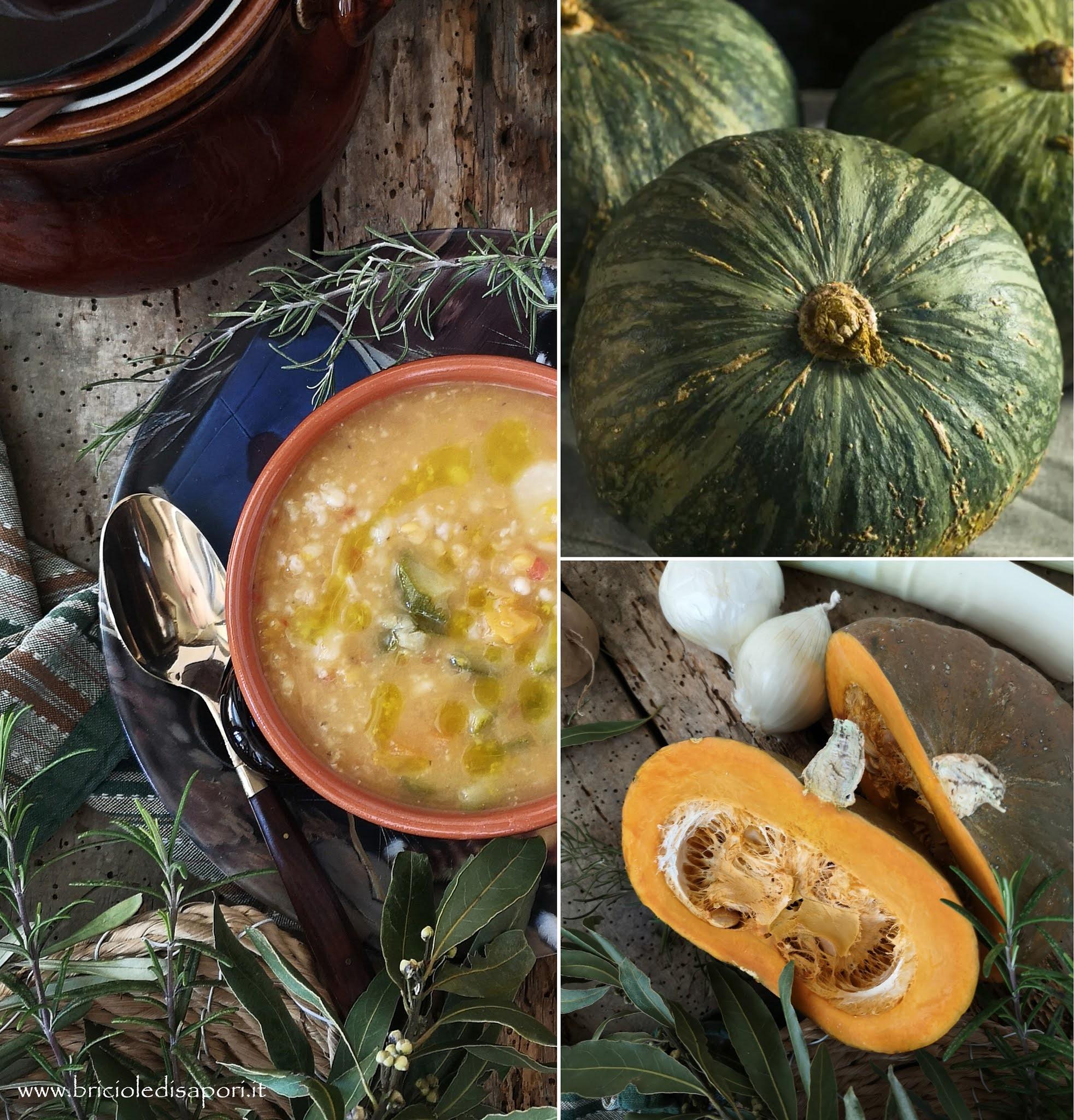 minestra d'orzo con verdure e zucca