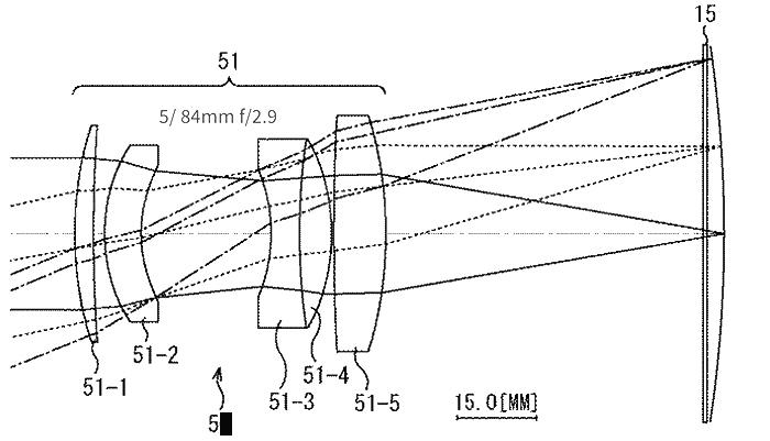 Оптическая схема среднеформатного объектива Sony для изогнутого сенсора