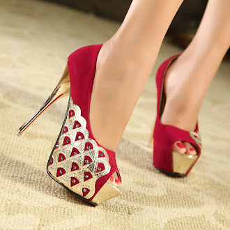 Shoes Inspirations, Elegant Red and Gold Pee Toe Platform High Heels #shoes #footwear #highheels #womenshoes