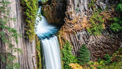 Waterfall wallpaper lake, rocks, trees, nature, landscape