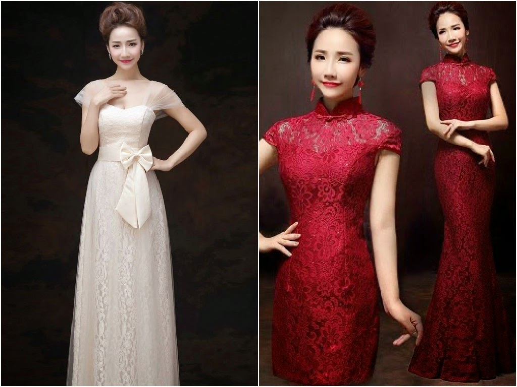 semi formal ribbon dress and cheongsam