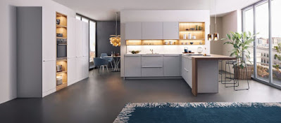 Nifty White kitchen furniture idea with modern white cabinet and contemporary hanging light