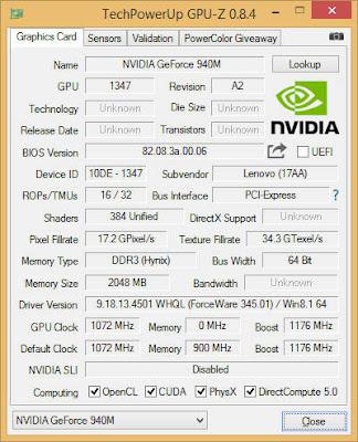 Nvidia GeForce 940MX(ノートブック)フルドライバをダウンロード